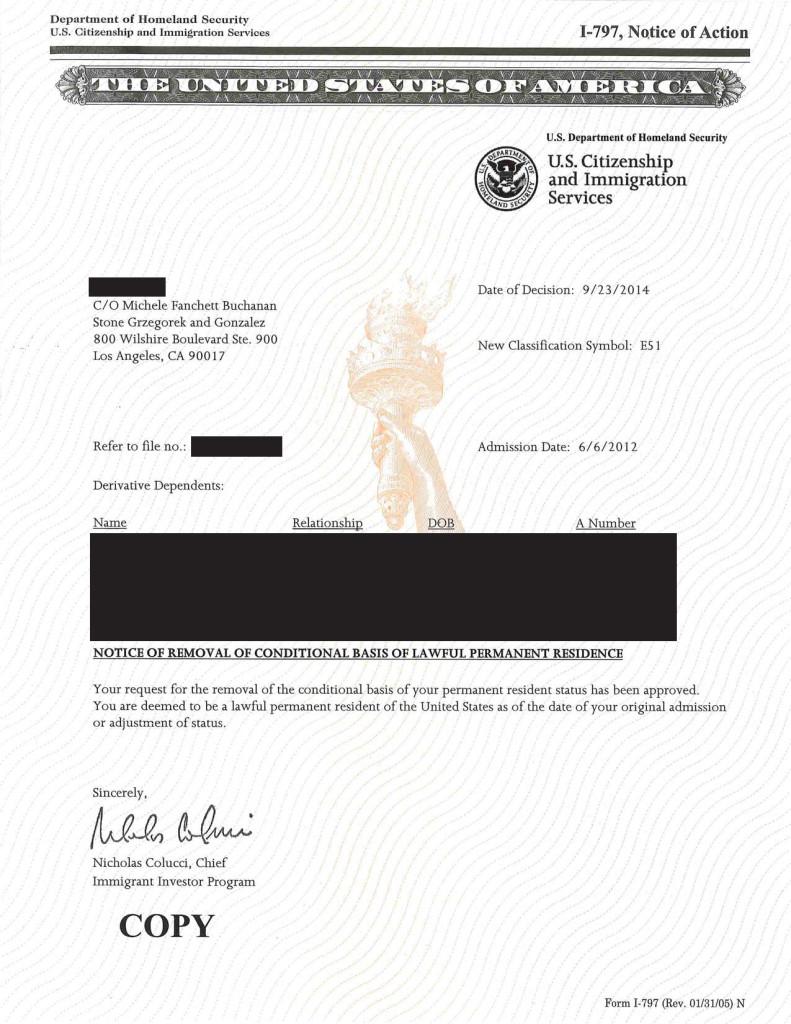MTI  I-829 Approval